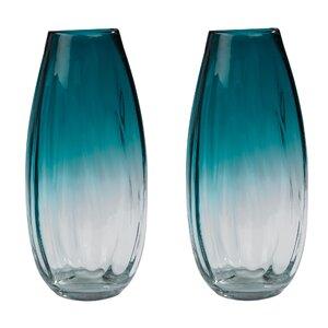 Taylorsville Ombre Aqua Handcrafted Cylinder Vase (Set of 2)