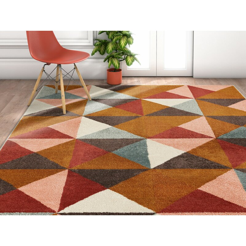 George Oliver Camren Geometric Triangles Brown Gray Area Rug Wayfair