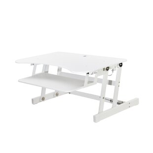 Rocelco ADR Height Adjustable Standing Desk Riser and Converter 32 White With Anti Fatigue Mat