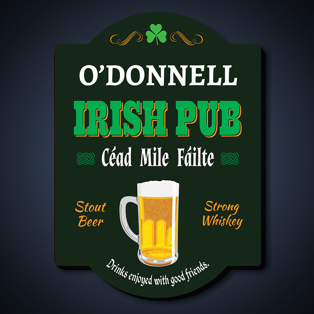 Home Wet Bar Cheers And Beers Personalized Irish Pub Sign Wall Décor Wayfair