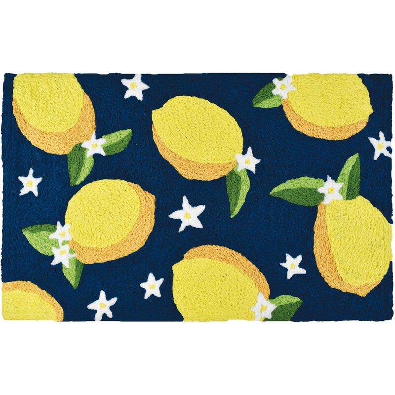 Garden Lemons And Flowers Kitchen Mat
