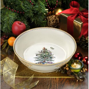 christmas tree gold serving bowl