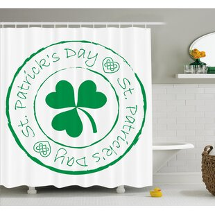 St. Patrick'S Day Stamp Like Design Greetings For Party March 17 Lucky Shamrock Print Single Shower Curtain