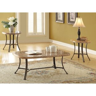 Towns Transitional Metal and Faux Marble 3 Piece Coffee Table Set