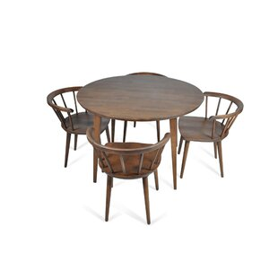Burgan 5 Piece Solid Wood Breakfast Nook Dining Set