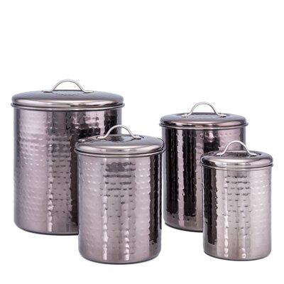 hammered 4 piece kitchen canister set