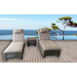 Galen 3 Piece Chaise Lounge with Cushion