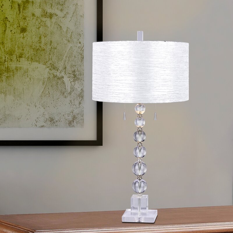 Harpswell Clear Stacked Crystal Ball 34 Table Lamp