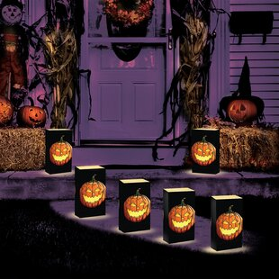 Luminarias Battery Operated Jack O' Lantern Luminaria Kit (Set of 6)