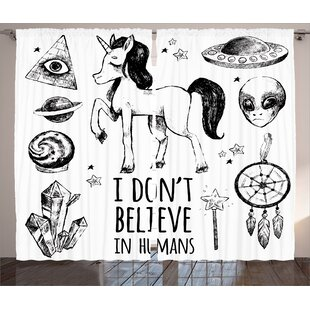 Unicorn Mysticism Occult Featured Set With Pyramids Aliens Dream Catcher Grunge Print Graphic Text Semi Sheer Rod Pocket Curtain Panels Of 2