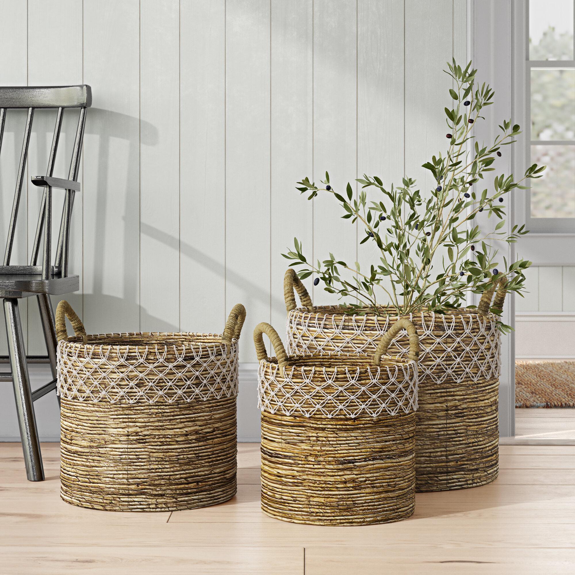 Romantic Chic 3 Piece Wicker Basket Set Birch Lane