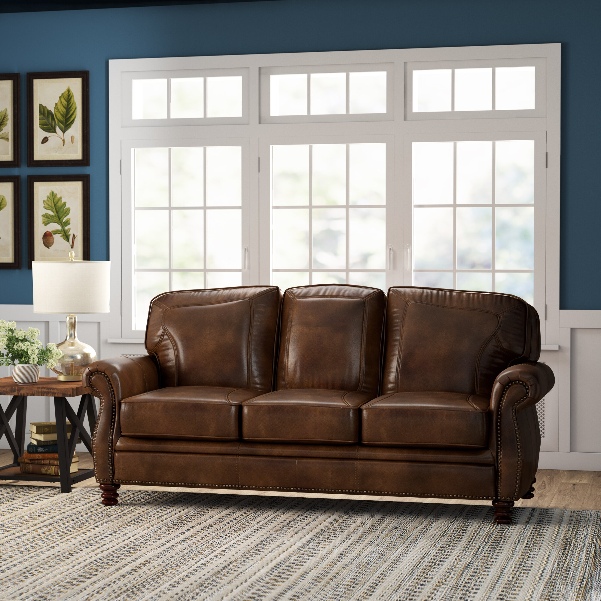 Darby Home Co Linglestown Leather Sofa