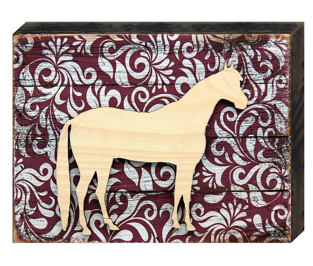 Designocracy Horse Decorated Wooden Rustic Wall Décor   Wayfair