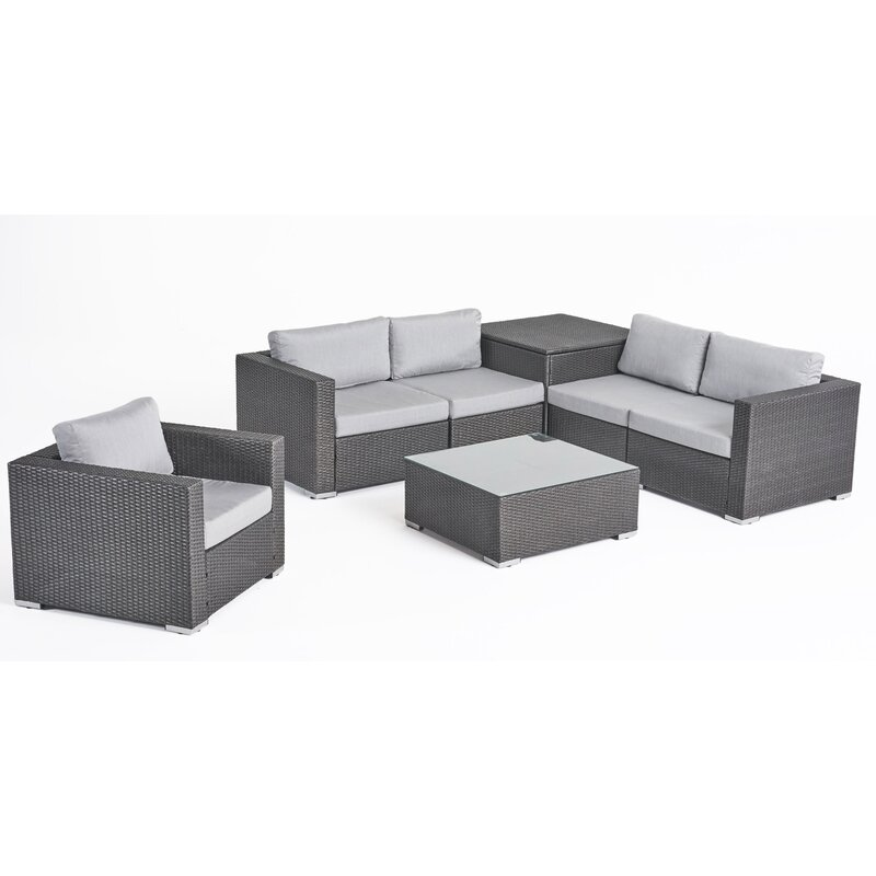 Roxann Outdoor 5 Seater Wicker Sectional Sofa Set with Storage Ottoman and  Sunbrella Cushions