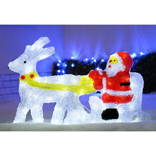 66cm Reindeer, Santa And Sled Christmas Acrylic Lighted Display With 48 Pre-Lit LED Lights By The Seasonal Aisle