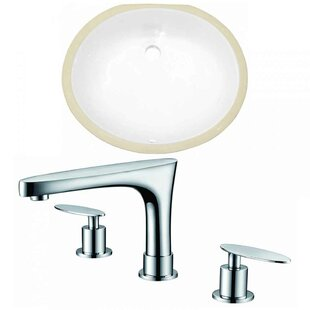 Buy clear CUPC Ceramic Oval Undermount Bathroom Sink with Faucet and Overflow By American Imaginations