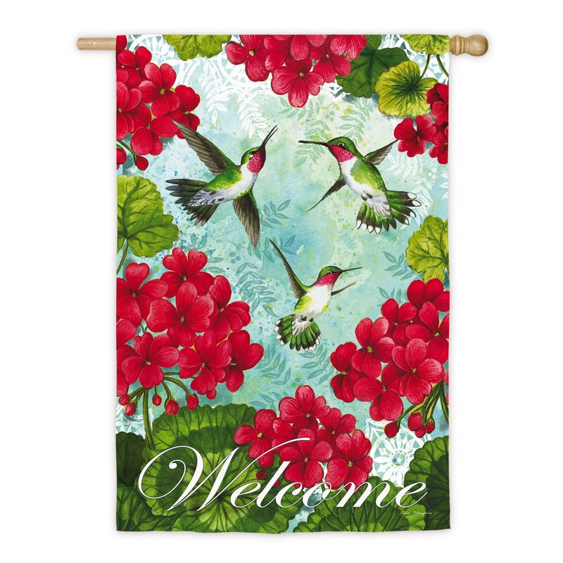 New Large Evergreen Double Sided Welcome Flag Patterned Hummingbird 29 X 43 Yard Garden Outdoor Living Home Garden