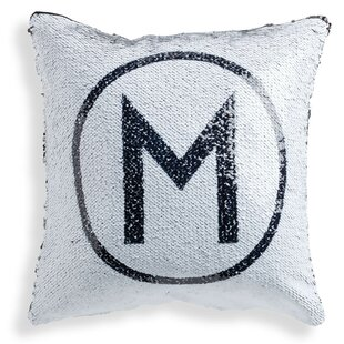 Stier Circle Initial Personalized Sequin Throw Pillow