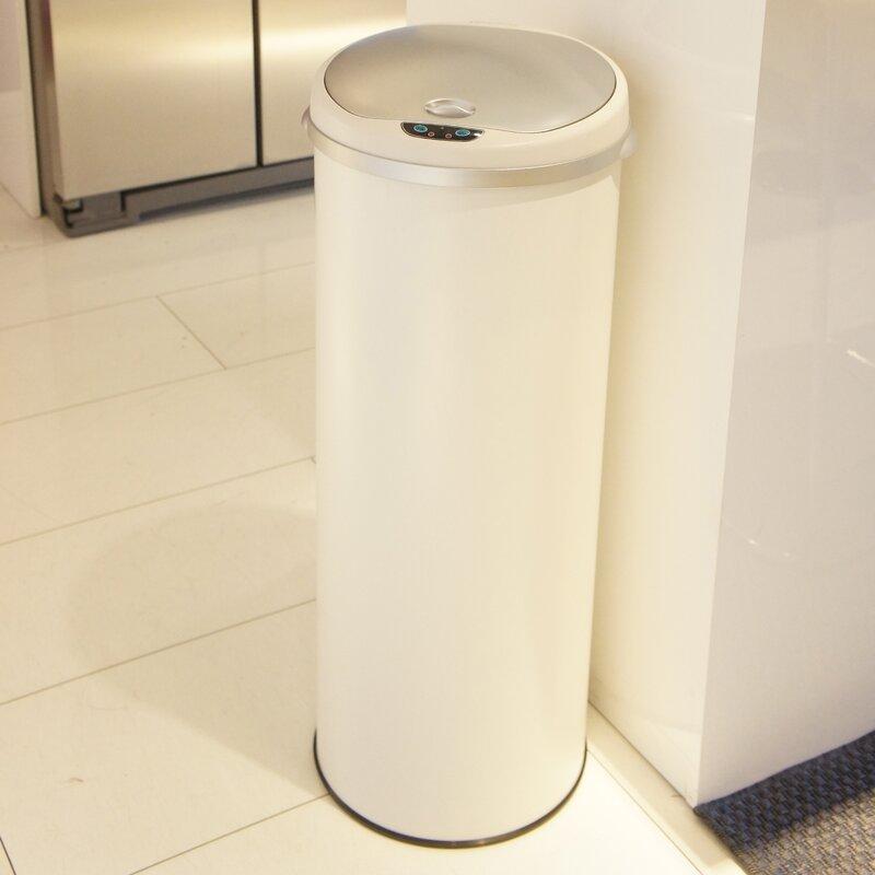 Rebrilliant Stainless Steel 13 Gallon Motion Sensor Trash Can Reviews Wayfair