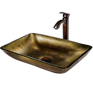 Top Copper Glass Rectangular Vessel Bathroom Sink with Faucet By VIGO