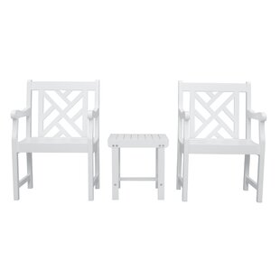 Mahler Patio Wood 3 Piece Conversation Set by Darby Home Co Purchase