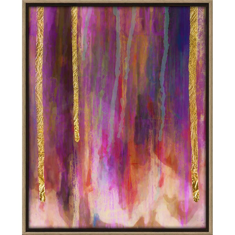 'Paint Drips' Framed Art on Canvas- Psychedelic Wall Art Decor