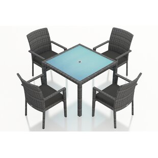 Harmonia Living District 5 Piece Sunbrella Dining Set with Cushions