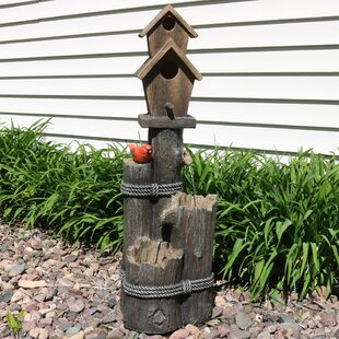 August Grove Bemis Polyresin 2 Story Birdhouse with Cardinal Outdoor Water Fountain