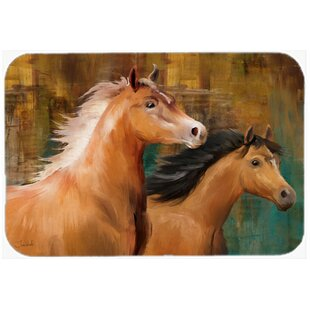 Horse Duo Glass Cutting Board By Caroline's Treasures