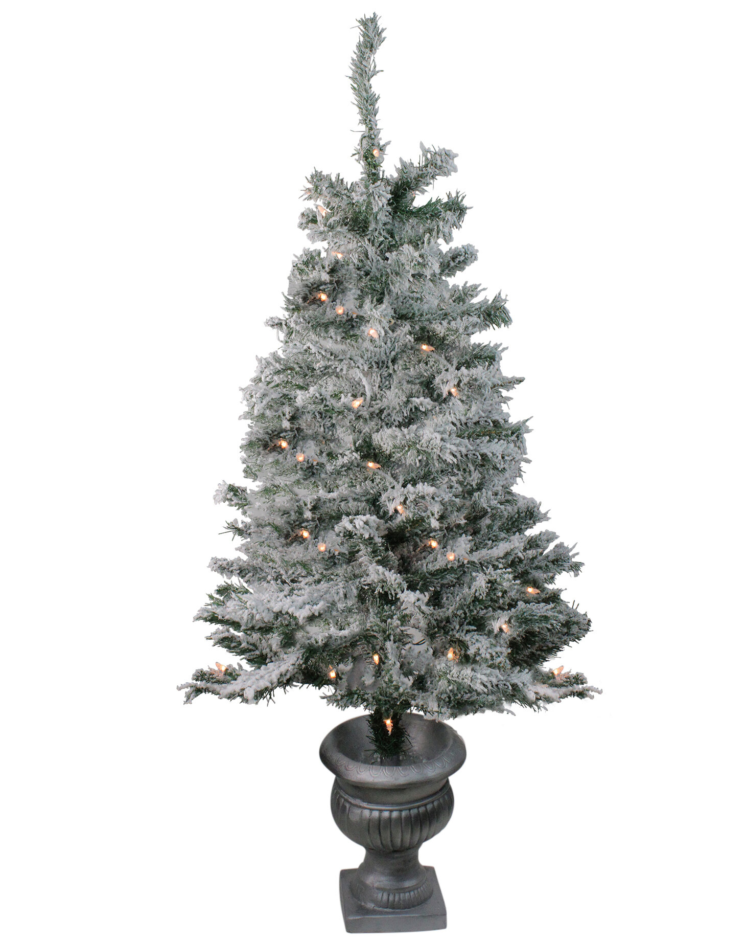 Flocked Pre Lit Christmas Tree.Pre Lit Potted Flocked 3 5 Gray Pine Artificial Christmas Tree With 35 Clear White Lights