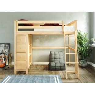 Getty Twin Loft Bed with Drawers and Bookcase