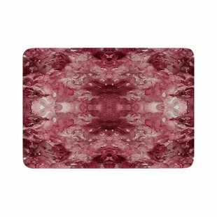 Ebi Emporium Tie Dye Helix Burgundy Abstract Memory Foam Bath Rug