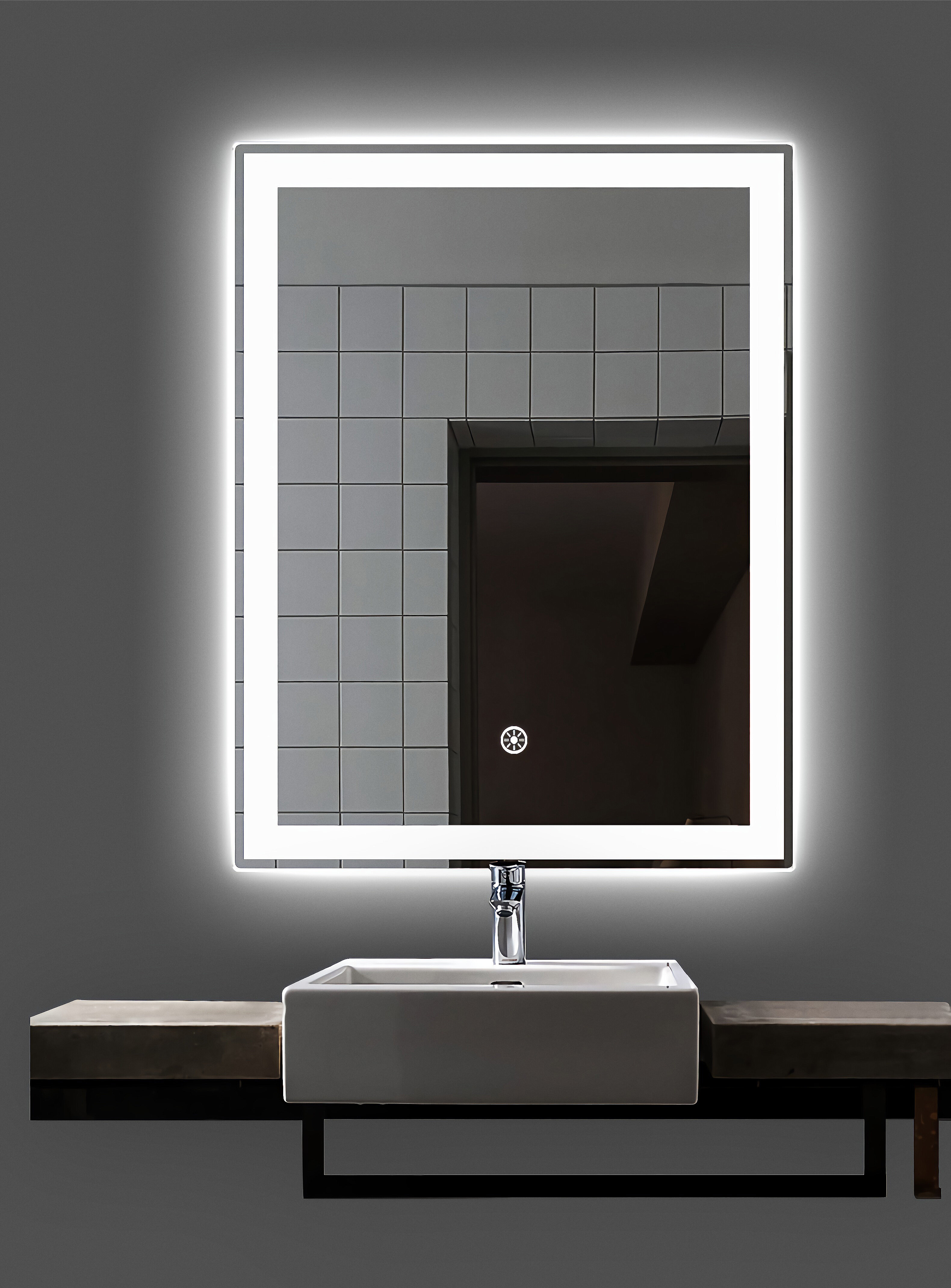 Orren Ellis Clybourn Frameless Lighted Bathroom Vanity Mirror Reviews Wayfair