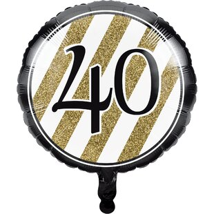 Black and Gold 40th Birthday Mylar Balloon