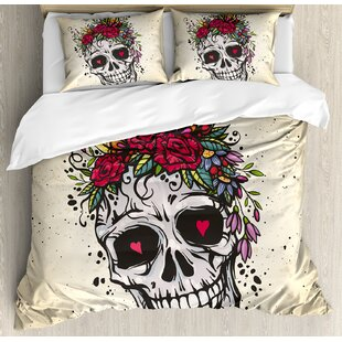 East Urban Home Sugar Skull Human with Wreath of Roses and Wild Flowers Hearts Boho Chic Design Duvet Set