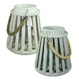 Breakwater Bay Wood Lantern (Set of 2)