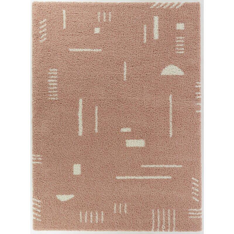 abstract pink shag rug
