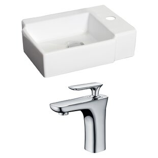 Ceramic 17 Wall Mount Bathroom Sink with Faucet ByAmerican Imaginations