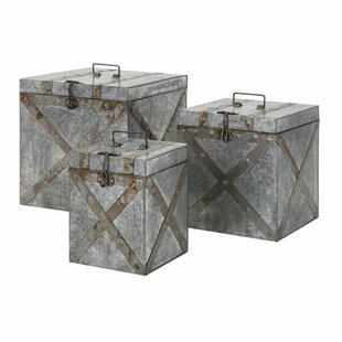 Williston Forge Jamal Galvanized 3 Piece Trunk Set