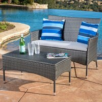 Louella 3 Piece Rattan Sofa Seating Group w/Cushions