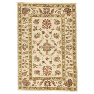 Cottleville Hand Knotted Wool Beige Rug by Rosalind Wheeler