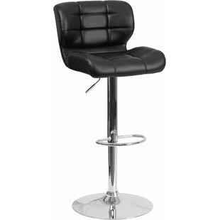 Whelan Mid Back Tufted Adjustable Height Swivel Bar Stool