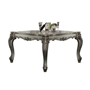 Umana Scrolled Pattern Wooden Dining Table Astoria Grand