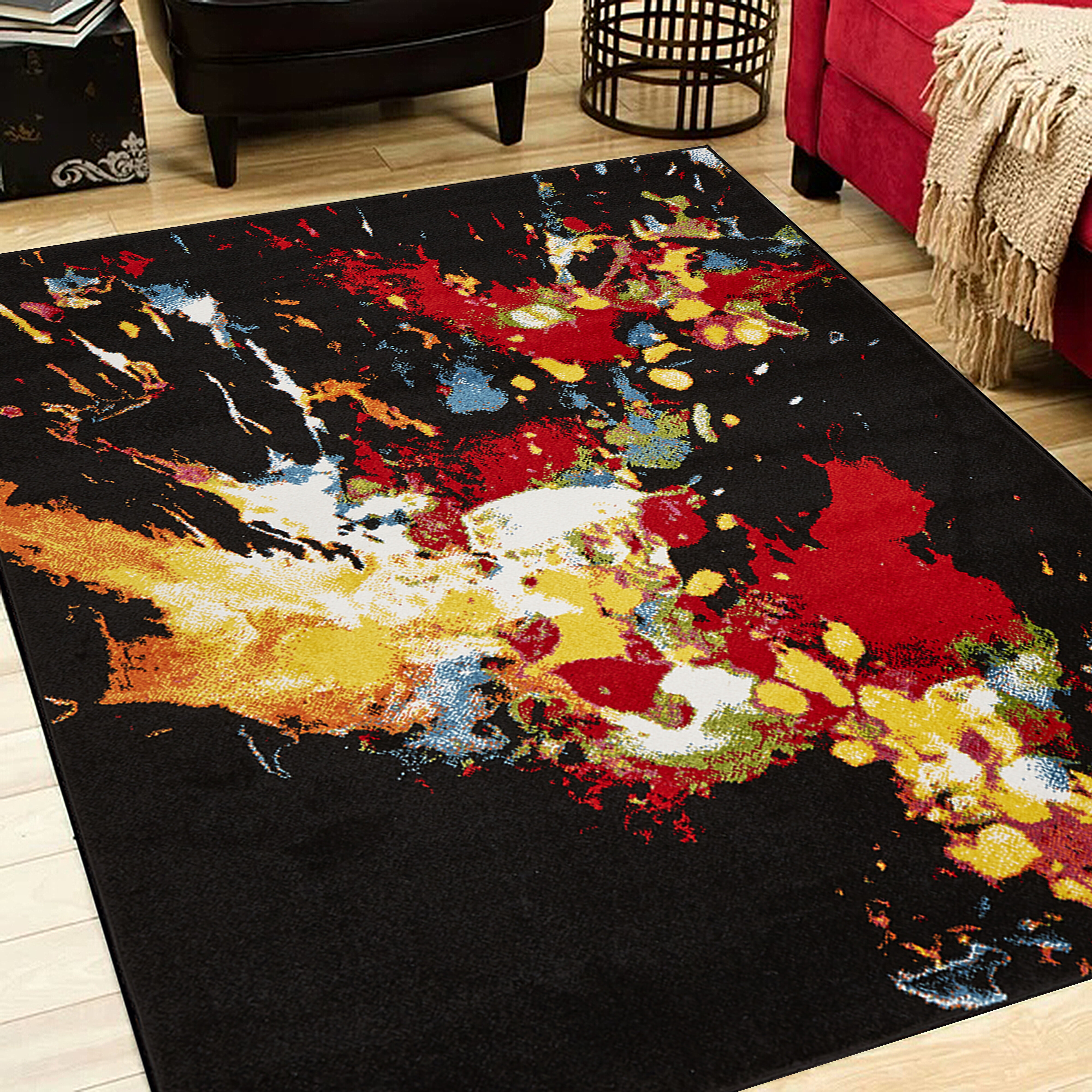 Wrought Studio Andreasen Abstract Black Red Yellow Area Rug Reviews Wayfair