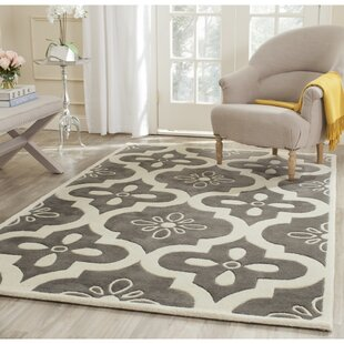 Wilkin Moroccan Hand-Tufted Wool Dark Gray/Ivory Indoor/Outdoor Area Rug