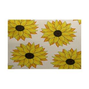 Laniel Sunflower Power Flower Print Yellow Indoor/Outdoor Area Rug