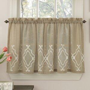 Carlyle Stitched Quatrafoil Kitchen Tier Curtains (Set of 2)