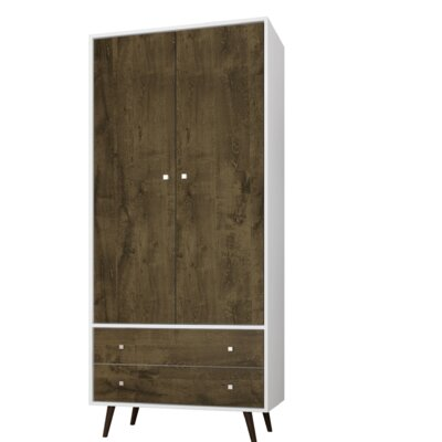 George Oliver Jabari Mid Century Modern Armoire Color: White/Rustic Brown