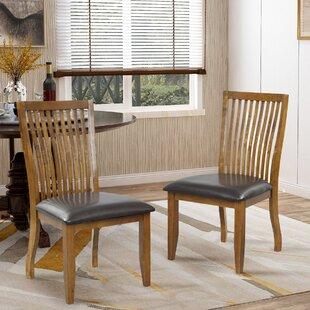 Tillia Solid Wood Slat Back Side Chair in Brown