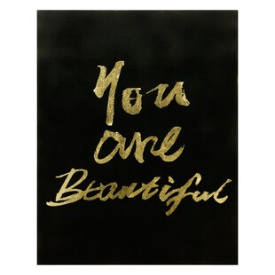 Stamped You Are Beautiful Textual Art On Canvas